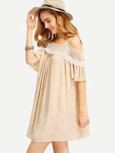 43058d21c0 Shop Apricot Spaghetti Strap Panelled Off The Shoulder With Lace Dress  online. SheIn offers Apricot Spaghetti Strap Panelled Off The Shoulder With  Lace ...