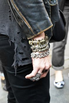 chunky jewelry with leather jacket