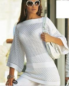 Crochê Tricô: Blusa Branca em Tricô