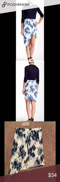 Alternative Inkblot Print Asymmetrical Skirt Elasticized waist, allover print, asymmetrical tulip hem. About 15\