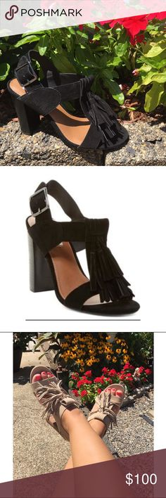 NEW🎉Steve Madden tassel heels 😍 Such an adorable sandal with a stacked heel! Cute and comfortable for the summer! Black suede with cascading tassels! 4 inch heel. Brand new in box! Price is firm! No trades! Steve Madden Shoes Heels