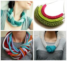 Knit necklaces / collares de punto:Neeka Knits, Elise Marks, Studio SOIL, via Kollabora
