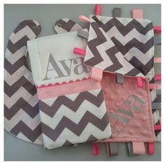 Personalized Baby Gift Set - Ribbon Lovey/Burp Cloth/Bib -  Grey Chevron with Light Pink - Other colors Available - No Loops