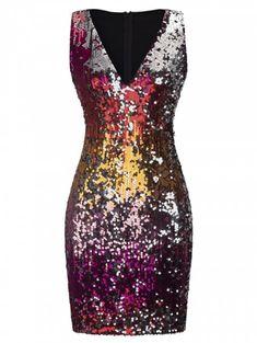 7e225c0bbb329 Sleeveless Sequin Sheath Dress - multicolor B 2XL