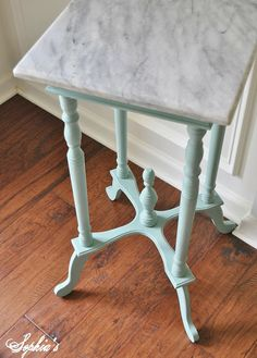 Sophia's: Annie Sloan Chalk Paint - Duck Egg Blue marble-topped side table
