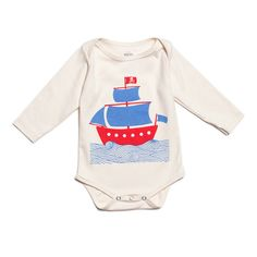 Organic Long-Sleeve Graphic Snapsuit - Mini Pirate Ship-----WANT
