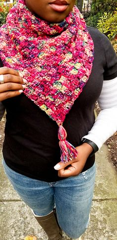 Ravelry: The Elisabeth Triangle Scarf pattern by Elisabeth Desamour C2c Crochet, Crochet Patterns, Corner To Corner Crochet Pattern, Triangle Scarf, Crochet Scarves, Neck Warmer, Digital Pattern, Plaid Scarf, Make Your Own