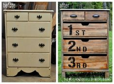 Easy to do.  Take off the handles and putty the three large drawers, cut openings at the top of the three drawers to pull open, remove the old bottom piece, replace the handles on the top two drawers, sand completely down and stain.