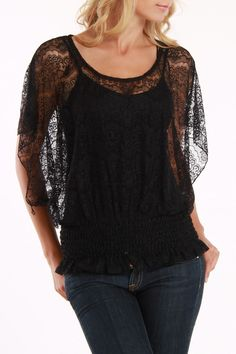 Lace Top.... I would remove the ruffle on the bottom and have it that length with a reg/hem