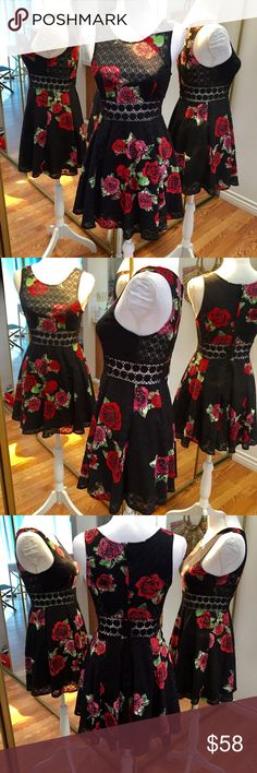 """Free People Black with Red Roses Lace Mini Dress 0 Free People EUC fit and flare sleeveless mini dress. Black daisy chain midriff. Size 0  Measurements - Bust: 30"""" Shoulder to Shoulder: 11.5"""" Length: 29"""" Free People Dresses Mini"""