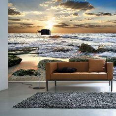 Sunset Coast - Wall mural, Wallpaper, Photowall, Home decor, Fototapet… 3d Wall Painting, Wall Design, House Design, Decoration Inspiration, Decor Ideas, Photo Wallpaper, Sunset Wallpaper, 3d Wallpaper, Wall Treatments