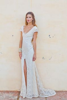 6688db43432 Pas cher Robe de mariée en dentelle extensible Bohemian