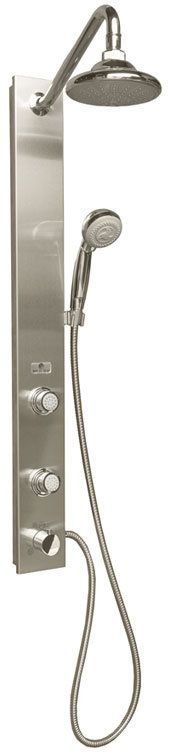 Pulse P1021 Aloha Single Handle Showerpanel with 2 Body Sprays and Rain Style Sh Brushed Stainless Steel Faucet Showerpanel Single Handle