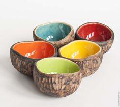"""Ceramic bowl set / Купить Комплект пиал """"Веселая семейка"""" - пиала ручной работы…"""