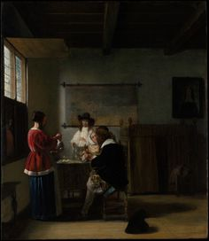 The Visit by Pieter de Hooch via European Paintings Medium: Oil on wood H. Havemeyer Collection, Bequest of Mrs. Havemeyer, 1929 Metropolitan Museum of Art, New York,. Rotterdam, Pieter De Hooch, Photo Voyage, Baroque Painting, Baroque Art, Fine Art Prints, Canvas Prints, Johannes Vermeer, Dutch Golden Age
