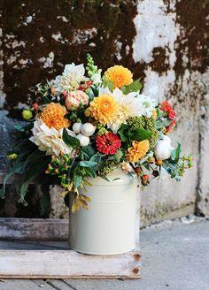 Farmwife Flowers | October | Dahlias, Zinnias, Rose Hips, Hypericum, Roses, Mushrooms & Snaps | http://www.pinterest.com/FarmwifeFlowers/