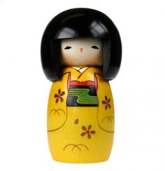 Happy Girl Yellow Kokeshi Doll