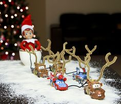 Mater and Lightning McQueen Reindeer Elf on the Shelf. Click for more ideas! #elfontheshelf
