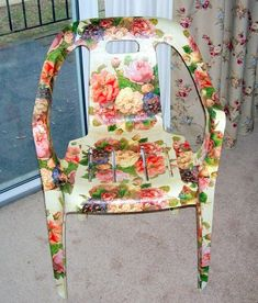 How to Decoupage Beautifully – Save Money and Upcycle any Decoupage Furniture, Refurbished Furniture, Painted Furniture, Diy Furniture, Plastic Patio Chairs, Lawn Chairs, Garden Chairs, Painted Chairs, Metal Chairs