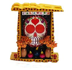 Sugar Skull Day of the Dead Nicho Dia De Los by CherryPicks