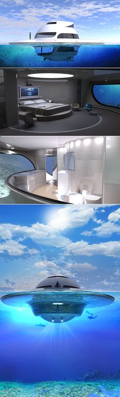 Jet Capsule's U.F.O 2.0 floating house is composed of a central shell divided into three different levels: the main living area (80 sq m) with kitchen, storage and bathroom; the sub level (50 sq m) with a seabed view bedroom and large bathroom with a 50 sq.M terrace as an upper deck/floor to control the vehicle.