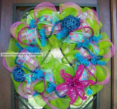 Paisley Deco Mesh Wreath for Spring & Summer with by myfriendbo, $75.00