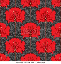 Art Nouveau http://image.shutterstock.com/display_pic_with_logo/759610/102869132/stock-vector-colorful-seamless-pattern-with-red-flowers-on-gray-background-art-nouveau-style-102869132.jpg