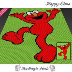 Happy Elmo crochet blanket pattern; c2c, knitting, cross stitch graph; pdf download; no written counts or row-by-row instructions by TwoMagicPixels, $2.99 USD