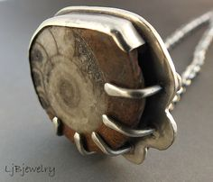 Sterling Silver Necklace, Sterling Silver Pendant, Ammonite Fossil Pendant, Organic Style, OOAK, by LjBjewelry