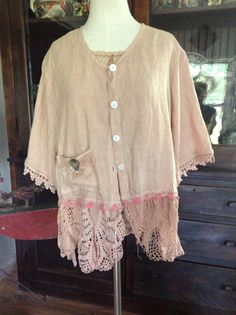 Luv Lucy Antique Peach Linen Jacket ,GYSY BOHO ROMANTIC