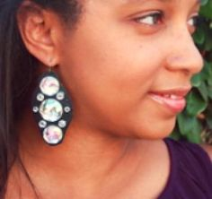 Earrings with a  Piece Of Leather, Flat Back Stones