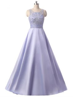 Stunning A Line Scoop Sheer Back Crystal Beaded Lavender Prom Evening Dress Winter Prom Dresses, Lavender Prom Dresses, Mermaid Evening Dresses, Formal Dresses, Prom Dresses Online, Crystal Beads, Homecoming, Ball Gowns, Woman