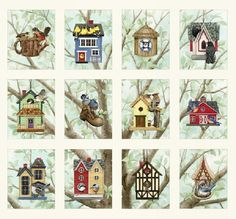 Beautiful Birds Houses Cotton Quilting Fabric 12 Panels By Elizabeths Studio
