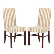Safavieh Classic Side Chair - Taupe/White Stripe (Set of 2) - Bed Bath & Beyond