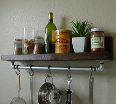 Simply Industrial Rustic Kitchen Spice Rack Shelf w/ by KeoDecor