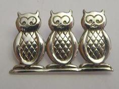 Vintage NE FROM Sterling Silver 925S DENMARK 3 OWLS Niels Erik From Pin Brooch