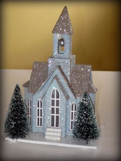 It's Beginning to Look a Lot Like Christmas with These Village Houses Christmas Village Houses, Christmas Village Display, Putz Houses, Christmas Villages, Christmas Paper, Christmas Home, Vintage Christmas, Christmas Ornaments, Glitter Ornaments