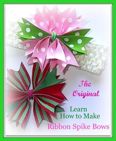 6 How to make Hair Bow Ribbon Spike Video Instructions,Pom Pom,Pinwheel