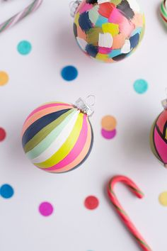 Mod Podge Round-Up: The Christmas Edition Hand painted ornaments finished with Mod Podge Matte