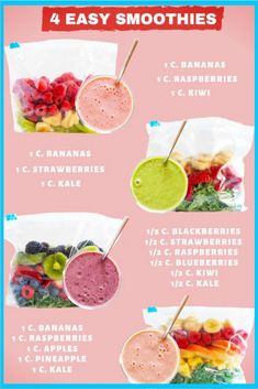 Make Ahead Smoothie Packs - My Favorite Frozen Fruit Smoothie Recipes - Super Simple and Insanely Good! - - Make Ahead Smoothie Packs - My Favorite Frozen Fruit Smoothie Recipes - Super Simple and Insanely Good! Frozen Fruit Smoothie, Fruit Smoothie Recipes, Delicious Smoothie Recipes, Smoothie Prep, Nutribullet Recipes, Ingredients For Smoothies, Smoothies With Spinach, Low Calorie Smoothie Recipes, Toddler Smoothie Recipes