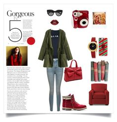 """""""Untitled #267"""" by polaroidandfashion ❤ liked on Polyvore featuring Topshop, Timberland, Le Specs, Casetify, Fendi, Lime Crime and Polaroid"""