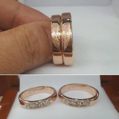 Customized #fingerprintrings in rose gold band 💕  by Diamond with Love Jewelry Shop 💍   #diamondwithlove #rosegoldring #fingerprintjewellery #handmadejewelry #makatijewelryshop #weddingringsph #weddingsupplierph