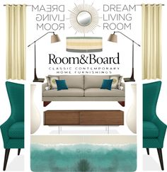 """Room & Board Dream Living Room Contest Entry"" by cellokitten on Polyvore"