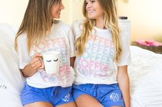 Flo Blue Comfort Colors Shorts go PERFECTLY with this best-selling premium graphic monogram tee! Lounge with some coffee in these personalized PJ's☕️💙 Please Note: Shorts run small! Monogrammed Pajamas, S Monogram, Color Shorts, Comfort Colors, Pjs, Crew Neck Sweatshirt, Hooded Sweatshirts, Lounge, T Shirts For Women