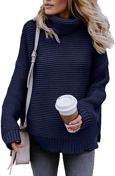 Asvivid Womens Turtleneck Long Sleeve Chunky Knit Pullover Sweater Tops Only Fashion, Star Fashion, Fashion Outfits, Womens Fashion, Fall Sweaters, Pullover Sweaters, Chic Fashionista, Classy Outfits, Fall Outfits
