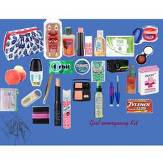Girl Emergency Kit by teenagefashiondistrict on Polyvore featuring beauty, Lancôme, NARS Cosmetics, Maybelline, dELiA*s, Filosofille, Batiste, Sephora Collection, Goody and Monki