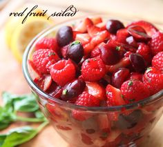Red fruit salad. I added honey to the dressing and it was so good...