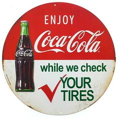 Coca-Cola-Bottle-Tire-Check-Embossed-Tin-Sign-Vintage-Style-Diner-Decor-12-x-12