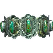 Native American Indian Royston Turquoise & Sterling Silver Old Pawn Cuff Bracelet