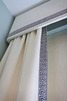 cornice and curtains...love this idea for the sliding glass window in the kitchen instead of those ugly horizontal slat blinds (different fabric though)